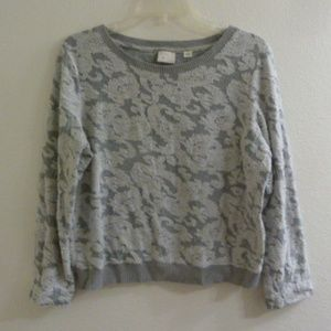 Anthropologie Postmark Sweater Paisley Embroidered